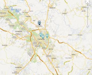 Mapa das Feiras Orgânicas em Campinas