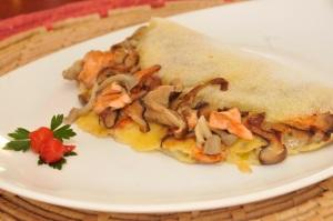 Tapioca de salmão com shimeji
