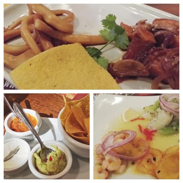 Ceviche de lula e salmão marinado no shoyo, nachos supreme e ceviches de pescada e camarões